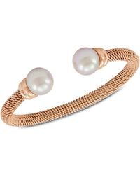 Majorica - Bracelet, Organic Man Made Pearl And Rose Gold-tone Stainless Steel Bangle Bracelet - Lyst