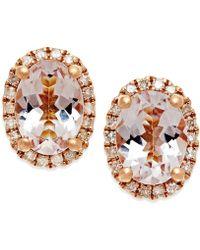 Macy's - Morganite (1-1/3 Ct. T.w.) And Diamond (1/6 Ct. T.w.) Stud Earrings In 14k Rose Gold - Lyst
