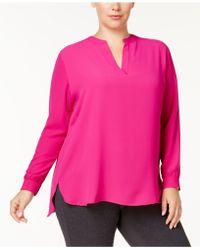 Anne Klein - Plus Size Split-neck High-low Blouse - Lyst