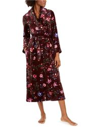 Sesoire Floral-print Long Fleece Robe - Red