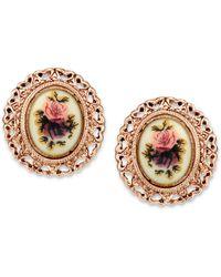 2028 - Rose Gold-tone Purple Flower Button Earrings - Lyst