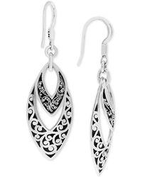 Lois Hill - Scroll Work & Filigree Marquise Drop Earrings In Sterling Silver - Lyst