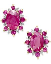 Macy's - Ruby (1-5/8 Ct. T.w.) And Diamond Accent Stud Earrings In 14k Gold - Lyst