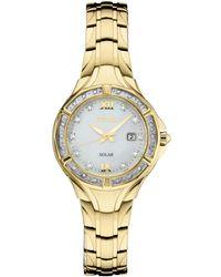 da827f35810 Seiko - Solar Diamond Collection Diamond-accent Gold-tone Stainless Steel  Bracelet Watch 29mm