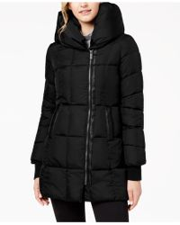 French Connection - Faux-leather-trim Hooded Puffer Coat - Lyst