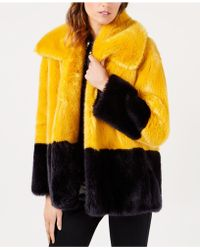 French Connection - Sebille Colorblocked Faux-fur Coat - Lyst