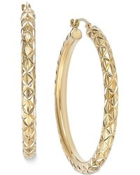 Signature Gold - Diamond-cut Hoop Earrings In 14k Gold Over Resin - Lyst