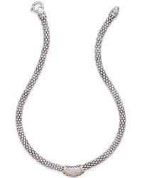Macy's - Diamond Fleur De Lis Necklace (1/5 Ct. T.w.) In Sterling Silver And 14k Gold-plated Sterling Silver - Lyst