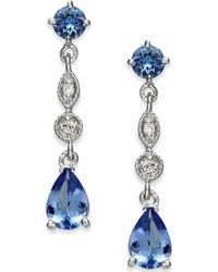 Macy's - Tanzanite (1-9/10 Ct. T.w.) & Diamond Accent Drop Earrings In 14k White Gold - Lyst