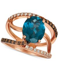 Le Vian - ® London Blue Topaz (3-3/4 Ct. T.w.) & Nude Tm & Chocolatetm Diamond (3/8 Ct. T.w.) Swirl Ring In 14k Rose Gold - Lyst