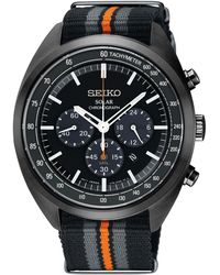 Seiko - Men's Solar Chronograph Recraft Series Black, Gray & Orange Nylon Strap Watch 43.5mm - Lyst