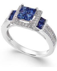 Macy's - Sapphire (1 Ct. T.w.) & Diamond (1/4 Ct. T.w.) Ring In 14k White Gold - Lyst