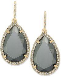 ABS By Allen Schwartz - Earrings, Gold-tone Dark Gray Crystal Pave Teardrop Earrings - Lyst