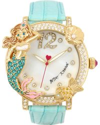 Betsey Johnson - Women's Mermaid & Fish Gold-tone Mint Green Leather Strap Watch 44mm - Lyst