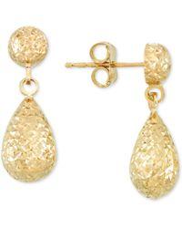 Macy's - Textured Teardrop Drop Earrings In 14k Gold - Lyst