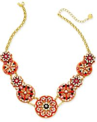 """Kate Spade - Gold-tone Multi-stone, Bead, Imitation Pearl & Leather Statement Necklace, 18"""" + 3"""" Extender - Lyst"""
