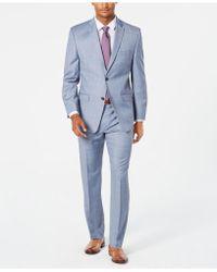 Marc New York - Modern-fit Stretch Light Blue Windowpane Sharkskin Suit - Lyst