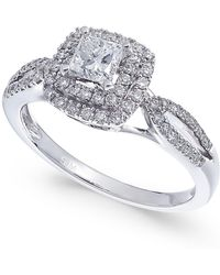 Macy's - Diamond Princess Cut Halo Engagement Ring (3/4 Ct. T.w.) In 14k White Gold - Lyst