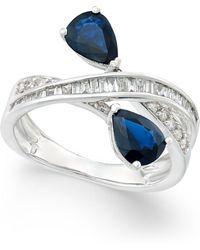 Macy's - Sapphire (1-3/4 Ct. T.w.) And Diamond (3/8 Ct. T.w.) Crisscross Teardrop Ring In 14k White Gold - Lyst