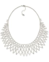 Carolee - Silver-tone Crystal Bib Frontal Necklace - Lyst