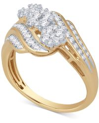Macy's - Diamond Triple Cluster Engagement Ring (1 Ct. T.w.) In 14k Gold Or White Gold - Lyst