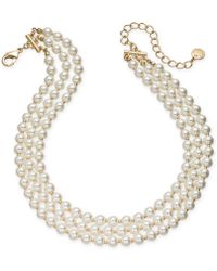 "Charter Club - Gold-tone Imitation Pearl Triple-row Choker Necklace, 14"" + 3"" Extender, Created For Macy's - Lyst"