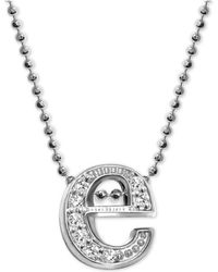 "Alex Woo - Diamond Initial ""e"" 16"" Pendant Necklace (1/10 Ct. T.w.) In 14k White Gold - Lyst"