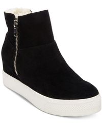 93636c4d655 Lyst - Steve Madden Latches Wedge Sneakers in Black