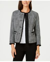 Anne Klein - Collarless Fringed Tweed Blazer, Created For Macy's - Lyst