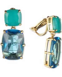 Carolee - Gold-tone Crystal Clip-on Double Drop Earrings - Lyst
