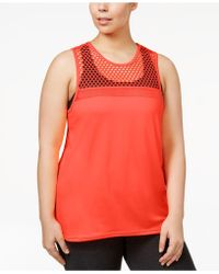Material Girl - Trendy Plus Size Mesh Active Tank Top - Lyst