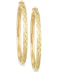 Signature Gold - Diamond-cut Hoop Earrings In 14k Gold Over Resin - Lyst