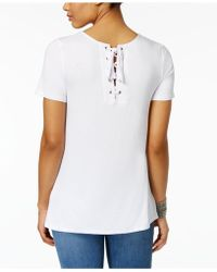 G.H.BASS - Lace-up-back T-shirt - Lyst