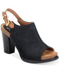 Söfft - Cidra Full-grain Leather Peep Toe Slingback Block Heel Sandal - Lyst