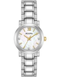 Bulova - Women's Diamond Accent Stainless Steel Bracelet Watch 26mm 98p164 - Lyst