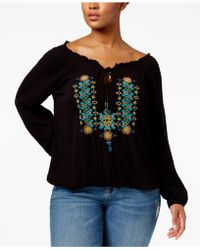 Jessica Simpson Elizabella V-neck Tie-detail Long-sleeve Embroidered Peasant Top - Black