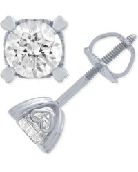 Macy's - Diamond Stud Earrings In Heart Shape Prongs ( 1 Ct. T.w.) In 14k White Gold - Lyst