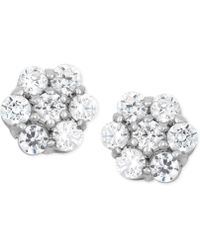 Wrapped in Love - Diamond Cluster Stud Earrings (1/2 Ct. T.w.) In 14k White Gold - Lyst