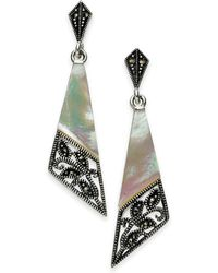 Macy's - Marcasite And Mother-of-pearl Drop Earrings In Fine Silver-plate - Lyst