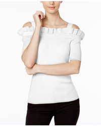 Olivia & Grace - Striped Ruffled Cold-shoulder Sweater - Lyst