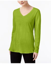 Eileen Fisher - Organic Cotton V-neck Top, Regular & Petite - Lyst