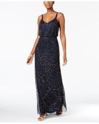 Adrianna Papell - Spaghetti-Strap Beaded Blouson Gown - Lyst