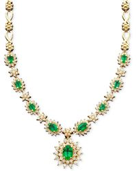 Effy Collection - Emerald (3-3/8 Ct. T.w.) And Diamond (1-2/3 Ct. T.w.) Necklace In 14k White Gold - Lyst