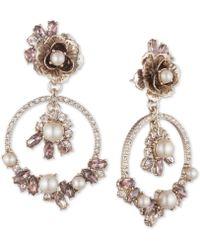 Marchesa - Gold-tone Crystal & Imitation Pearl Flower Orbital Drop Earrings - Lyst