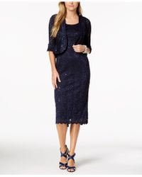R & M Richards - Petite Sequined Lace Dress & Bell-sleeve Jacket - Lyst