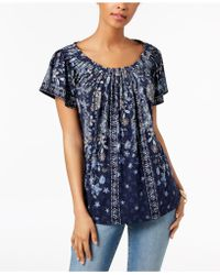 Style & Co. - Printed Pleated Top - Lyst