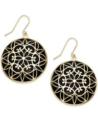 Macy's | Onyx Decorative Medallion Drop Earrings (23mm) In 14k Gold | Lyst