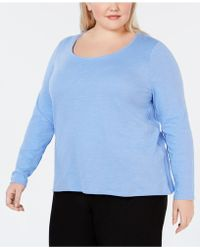 Eileen Fisher - Plus Size Scoop-neck Organic Cotton Top - Lyst