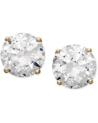 Arabella - 14k Gold Earrings, Swarovski Zirconia Round Stud Earrings (3-1/2 Ct. T.w.) - Lyst
