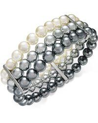Charter Club - Multi-imitation Pearl Triple-row Stretch Bracelet, Created For Macy's - Lyst